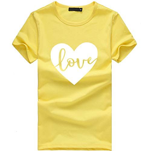 Women's Tops Crew Neck T-Shirts Plus Size Print Tees Shirt Short Sleeve Blouse Solid Tank Tops Yellow