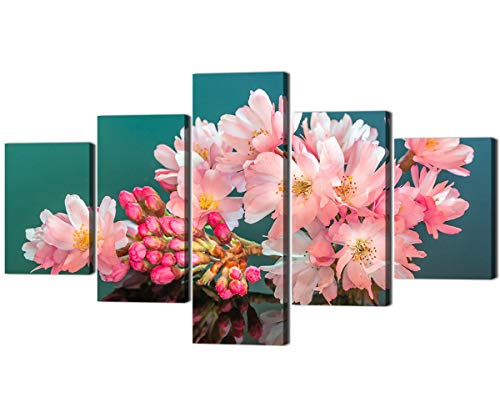 Cherry Panel Poster - Large Size Peach Blossom Picture Stretched and Framed Wall Art Artwork 5 Panels Modern Elegant Blooming Flowers Poster for Home Decor Cherry Blossoms Floral Paintings on Canvas Art (70''W x 40''H)