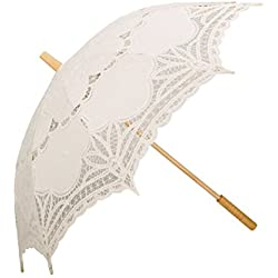 Coxeer Handmade Lace Umbrellas Wedding Umbrella Bridal Parasol Umbrella for Bridal Bridesmaid Wedding Decoration Beige