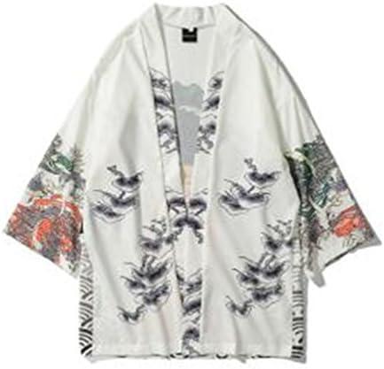 (グードコ) メンズ 和式パーカー 半袖 トップス カーディガン 七分袖 tシャツ 羽織 龍 鶴柄 和柄 羽織 薄手 個性的 ファッション