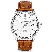 Vincero Luxury Men's Kairos Wrist Watch — Silver with Tan Leather Watch Band — 42mm Analog Watch — Japanese Quartz Movement