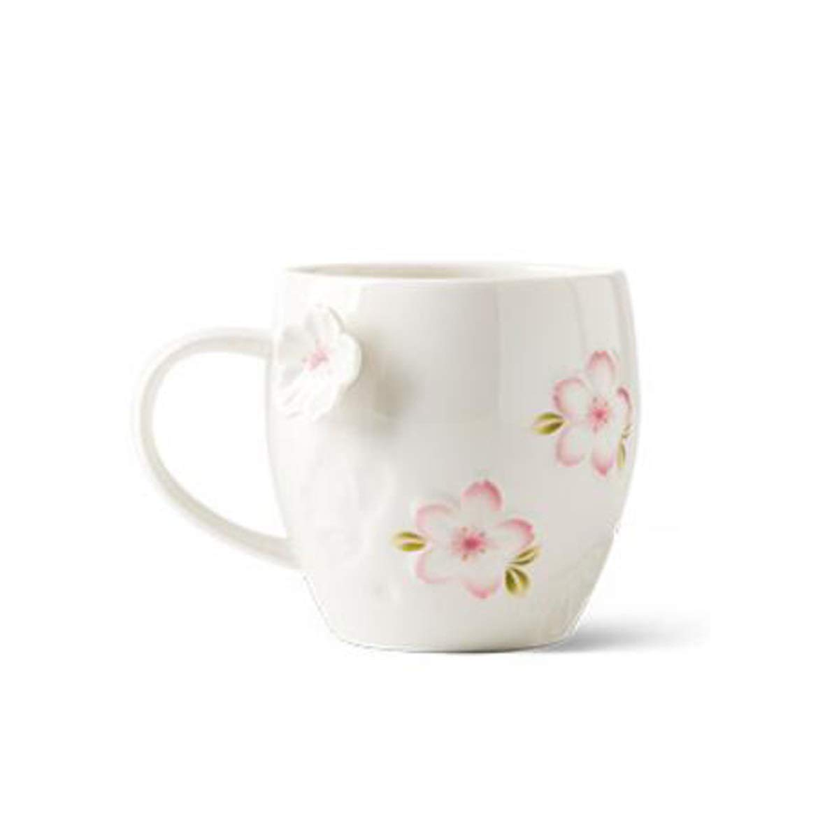 SHENGSHIHUIZHONG Creative Still Flower Mug, with Lid Spoon Couple Stereo Water Cup, Ceramic Cup, Simple Milk Coffee Cup, Pink Coffee Cup, (Color : White)