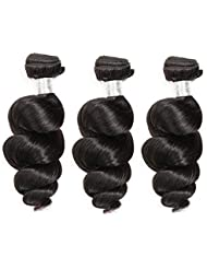 Alipop Brazilian Loose Wave Bundles 10A Wet And Wavy Human Hair Weave Virgin Human hair 3 Bundles Natural Black Color (26 26 28, Natural color)