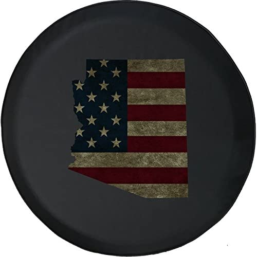 556 Gear Arizona - Distressed American Flag Jeep RV Spare Tire Cover Black 35 in for cheap