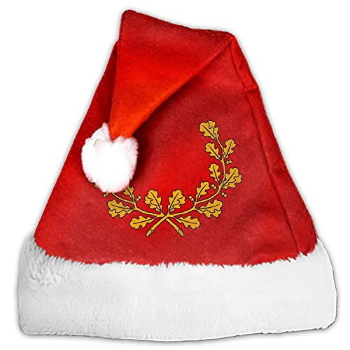 Branch Leaf Oak Wreath Christmas Santa Hat Economical Traditional Red&White Xmas Santa Claus' Cap for Holiday Party]()