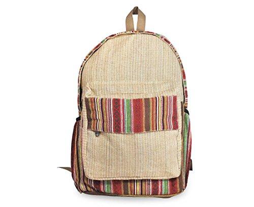 Mato Boho Hemp Backpack Bohemian Tribal Aztec Baja Pattern Laptop School Bag Brown (Handmade Hemp Shoulder Bag)