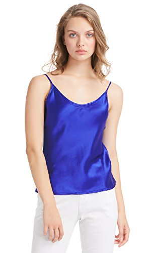 LilySilk Womens Silk Camisole 100 Pure Mulberry Silk Tank Tops & Ladies Cami Top with Soft Satin Blue (Charmeuse Tank)