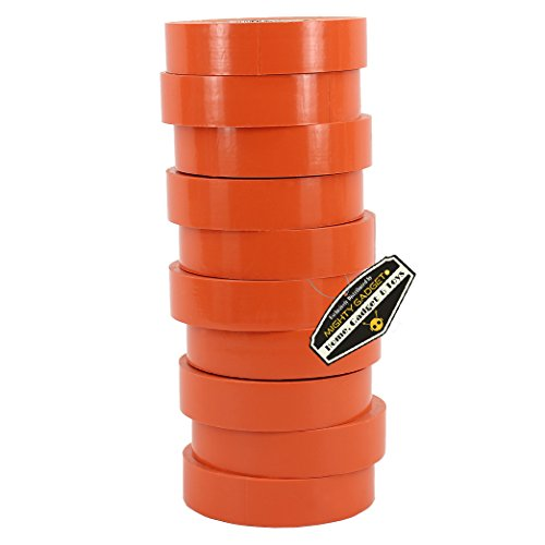 10 Pack of Mighty Gadget (R) Professional Grade UL Listed Orange Color PVC Electrical Tapes with Durable Rubber Based Adhesive, Rated up to 600 Volts and 176