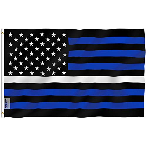 Anley Fly Breeze 3x5 Foot EMS Thin White Line USA Flag - Vivid Color and UV Fade Resistant - Canvas Header and Double Stitched - Honoring Fallen or Injured Brother & Sister Flags with Brass Grommets
