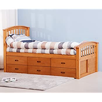 merax twin size platform storage bed solid wood bed with 6 drawers natural