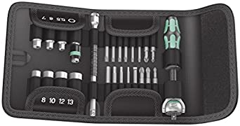 """Wera Tools 26Pc Zyklop Ratchet ¼"""" Socket and Bit Set with pouch (Metric)"""