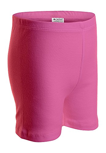 (CAOMP Girls' Bike Short 100% Organic Cotton for Sports and Under Skirts (9-10, Hot Pink))
