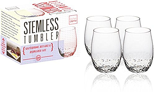 Stem Wine Goblet (Kitchen Gizmo - Award Winning Unbreakable Wine Glasses With Hammered Finish 100% Tritan - Set of 4, 16oz Stemless Tumblers.)