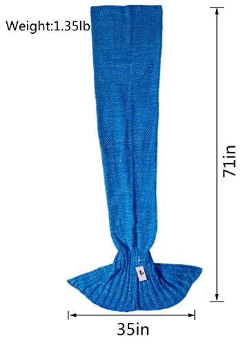 Kpblis Knitted Mermaid Blanket Tail for Kids and Adults,Super Soft and Fashion Sleeping Bags 71-35-inches(Blue)