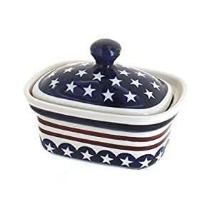 Blue Rose Polish Pottery Stars & Stripes Butter Tub