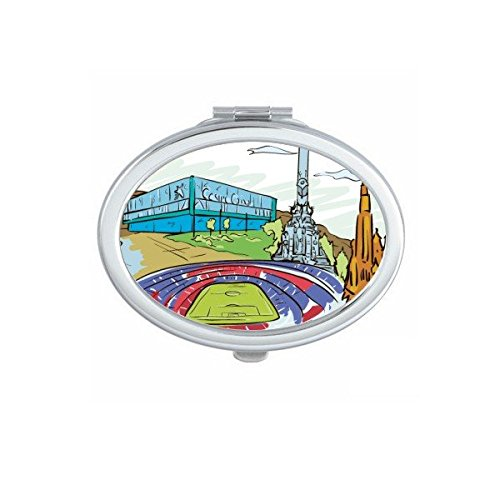 Spain Barcelona Monument A Colon Sagrada Familia Watercolor Oval Compact Makeup Pocket Mirror Portable Cute Small Hand Mirrors by DIYthinker