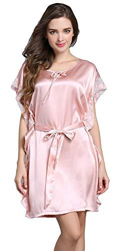 Camisón Elegantes Fashion Colores Sólidos Dormir Cuello Corta Camisones Casual Anchas Modernas Verano Manga Vestido Mujer Cortos De Redondo Rosa Pijama Cómodo rW6xZrYU
