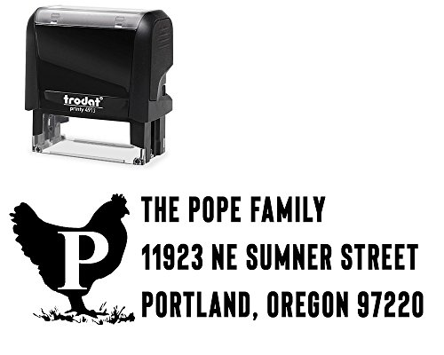 Labels Address Chicken - Self-Inking Return Address Stamp Customized, Variety of Designs. Surname Initial and 3 Lines. Chicken Barn Animal for Initial Family Surname