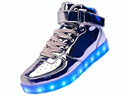 JustCreat Women Men High Top USB Charging LED Shoes Flashing Sneakers by JustCreat