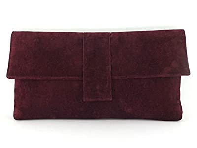 Loni Womens Fab Large Faux Suede Clutch Bag/Shoulder Bag