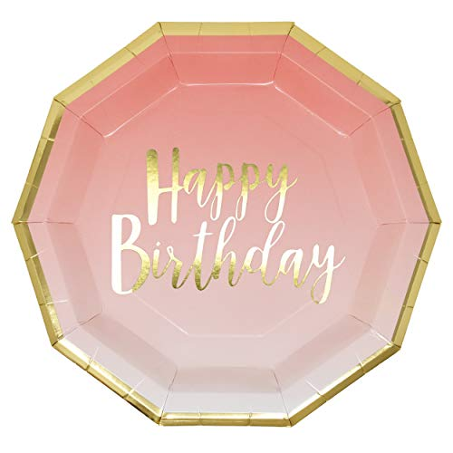 50 Count Pink and Gold Birthday Party Plates Disposable Dinner 9 inch Happy Birthday Gold Foil on Pink Ombre Party Supplies for Baby Shower Babys 1st Birthday Unicorn Party and More -
