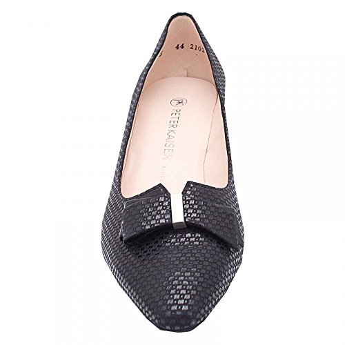 Peter Kaiser Low Heel Court Shoe With Bow Navy Patent