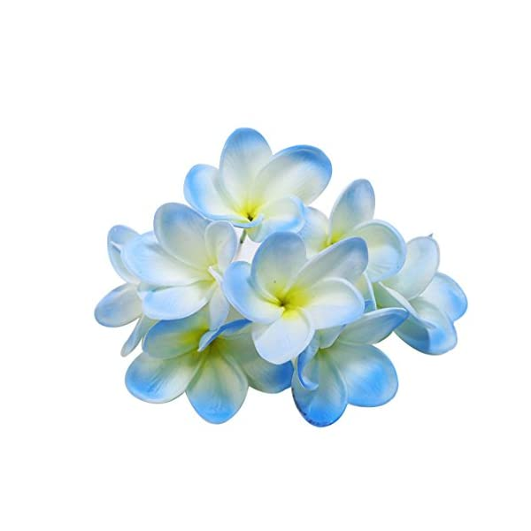 Winterworm Bunch of 10 PU Real Touch Lifelike Artificial Plumeria Frangipani Flower Bouquets Wedding Home Party Decoration (Light Blue)