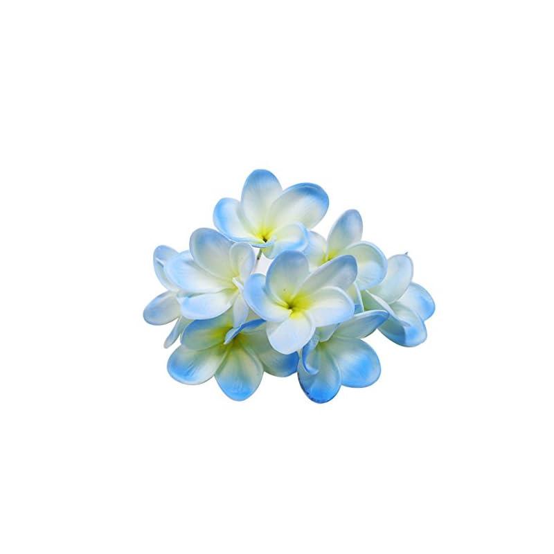 silk flower arrangements winterworm bunch of 10 pu real touch lifelike artificial plumeria frangipani flower bouquets wedding home party decoration (light blue)