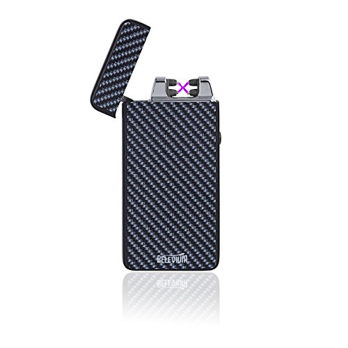 Dual Arc Lighter By Relevium Plasma Beam Technology USB Rechargeable Windproof Electric Lighter For Cigarettes, Camping, Fire Starting - Stronger Arc (Carbon Fiber Print)