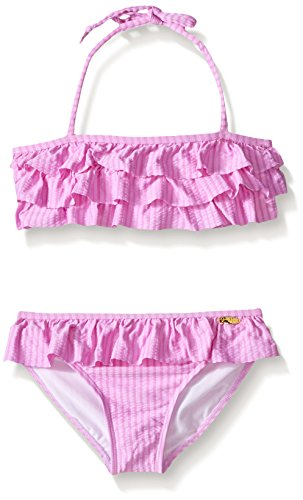 Jessica Simpson Big Girls Seersucker Two Piece Bikini, Lilac, 8