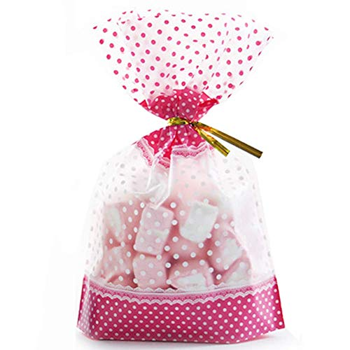 50 Pcs 7.87 x 11 inch Cellophane Treat Bags Food Packaging Bag with Gold Twist Ties for Party Birthday Baby Shower Decorations (Pink)]()