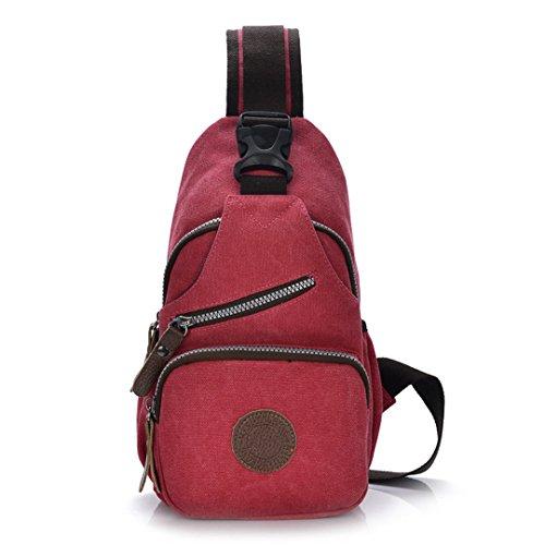 Wewod Hombres Al Aire Libre del Recorrido del Bolso de la Lona de Múltiples Funciones Ocasional de Hombro del Cuerpo Pecho Mochila Mochila Bolsos Cruz Satchel Bag 18 x 33 x 12 cm (L*H*W) Rojo