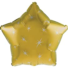 "Creative Converting CTI Mylar Balloons, Sparkle Star, 17"", Gold pack of 5"