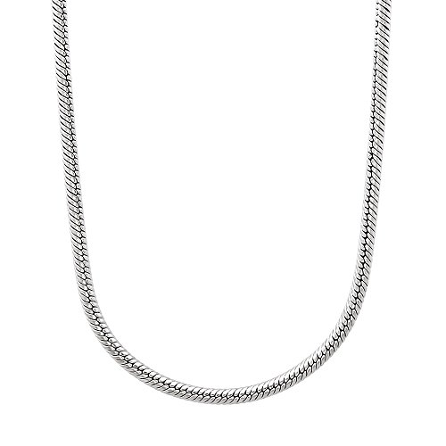 (The Bling Factory 2mm Durable Solid Stainless Steel Rounded Snake Link Chain Necklace, 24 inches)