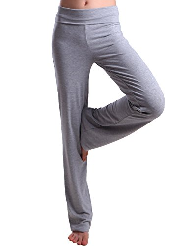 HDE Women's Fold Over Waist Yoga Lounge Pants Flare Leg Workout Leggings (Heather Gray, Small)
