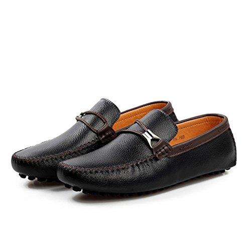 Tda Mens Rund Tå Sträng Eleganta Läder Loafers Driver Arbets Båt Skor Svart