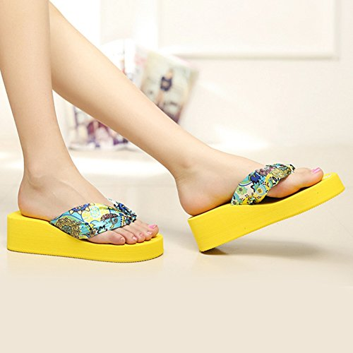 562eb69d4e05dd Academyus Womens Summer Wedge Shoes Bohemia Slope Flip Flops Slippers free  shipping