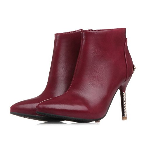 Allhqfashion Women's Pointed Closed Toe High-Heels Soft Material Ankle-high Solid Boots Claret IG6qUHQg36