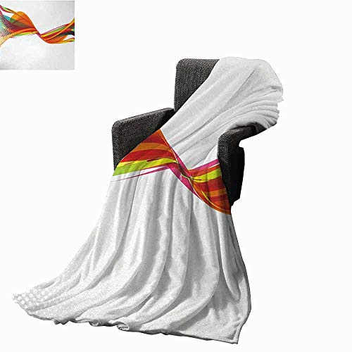 vanfan-home Abstract Printing Throw Blanket,Rainbow Curved Wave Smoke Like Image with Pixel Style Detailed Work of Art Print Super Soft Luxurious Blanket for Bed Couch(50