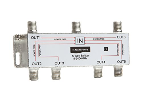 Antiference AS06 6 Way F-Type Indoor TV Signal Splitter