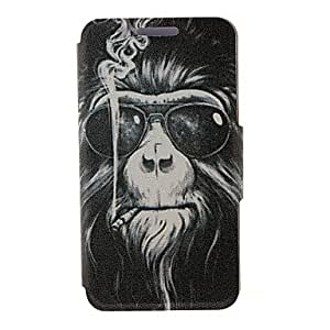 Kinston Smoking Monkey Pattern PU Leather Full Body Cover with Stand for iPhone 6 Plus
