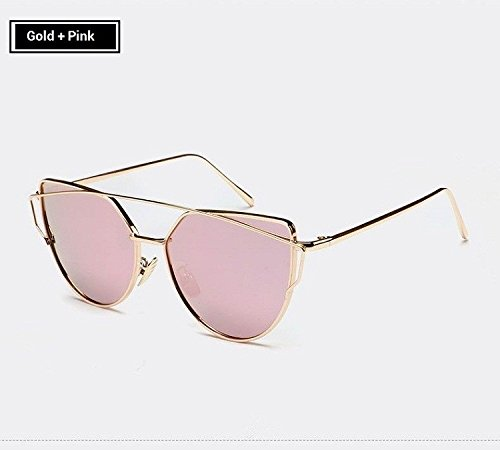RunBird Mirror Flat Lense Women Cat Eye Sunglasses Classic Brand Designer Twin-Beams Rose Gold Frame Sun Glasses for - Ray Ban Gold Aviators Rose