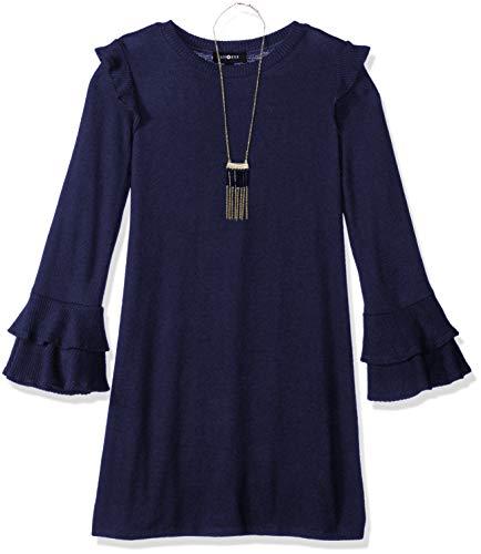 Amy Byer Girls' Big Bell Sleeve Fuzzy Knit A-Line Dress, Midnight Navy M -