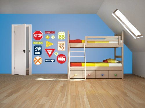 Wall Pops  WPK0617 Road Signs Wall Decals,  17. 25-inch by 39-inch, Two sheets by Wall Pops (Image #1)