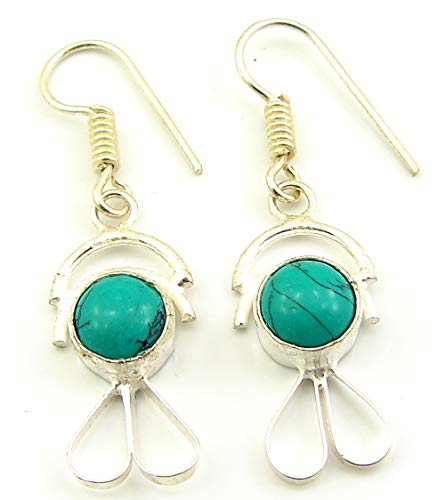 925 Silver Plated Turquoise Gemstone Earrings Danglers Fashion Jewelry - 1872