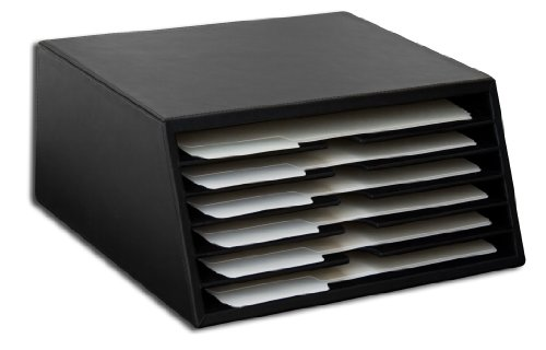 Dacasso Black Leather 6-Tray File Sorter by Dacasso