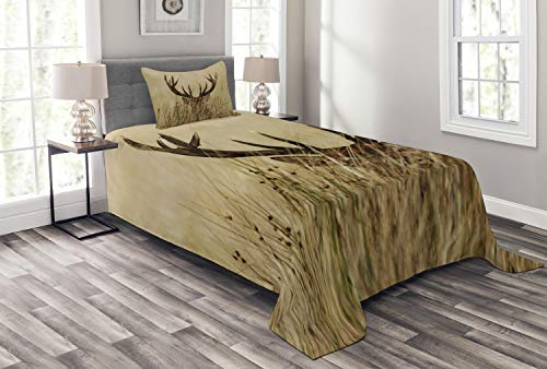 Lunarable Antler Bedspread Set Twin Size, Whitetail Deer Fawn in Wilderness Stag in Countryside Rural Hunting Theme, Decorative Quilted 2 Piece Coverlet Set with Pillow Sham, Sand Brown