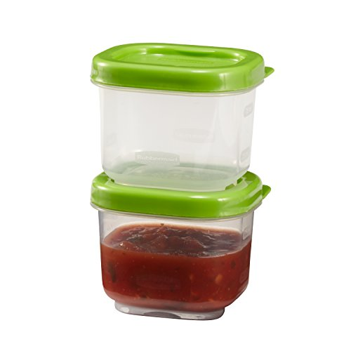 (Rubbermaid Lunch Blox Sauce Containers, 3 Ounce, Green, Pack of 2 1806175)