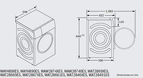 Bosch Serie 6 WAT28669ES Independiente Carga frontal 9kg 1400RPM ...