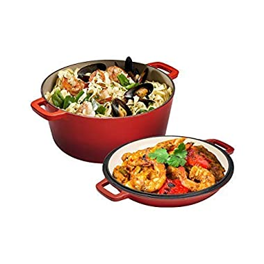 2 in 1 Enameled Cast Iron Double Dutch Oven & Skillet Lid, 5-Quart, Fire Red - Induction, Electric, Gas & In Oven Compatible